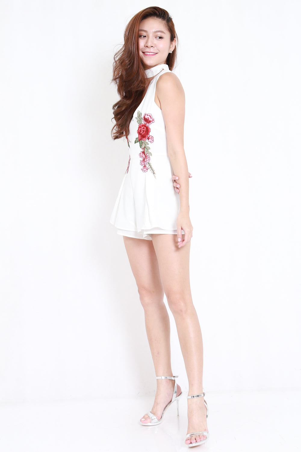 Embroidered Choker Romper (White)