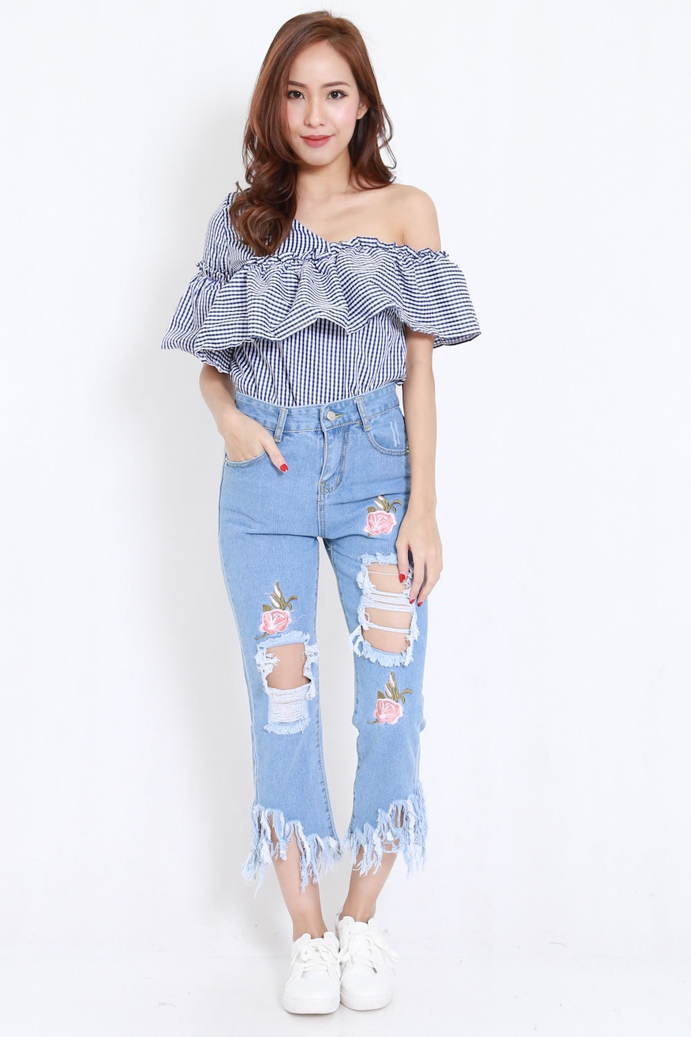 Embroidered Frayed Jeans