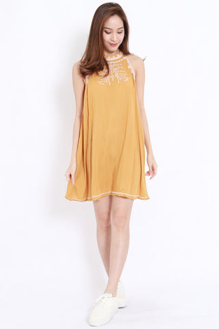 Embroidered High Neck Flare Dress (Mustard)