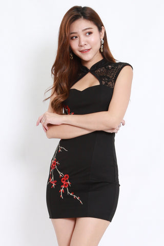 Embroidered Lace Cheongsam Dress (Black)