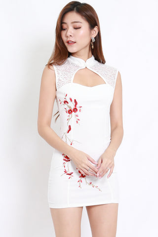 Embroidered Lace Cheongsam Dress (White)