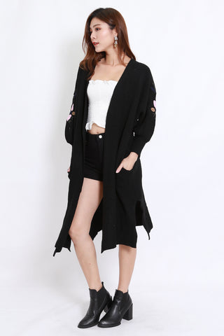 Embroidered Long Cardigan (Black)