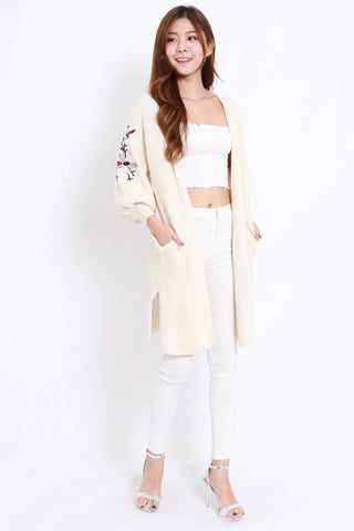 Embroidered Long Cardigan (Cream)