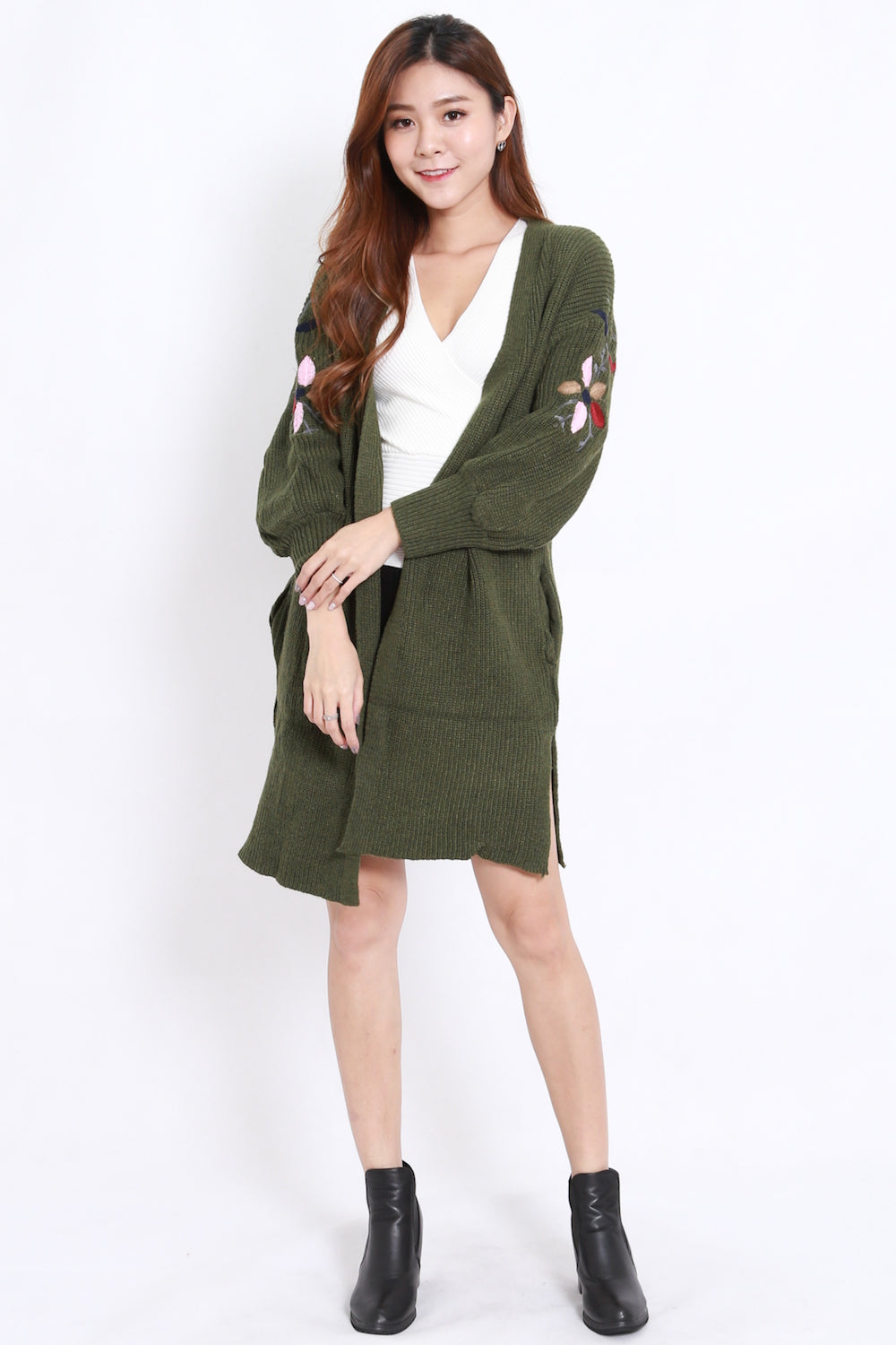 Embroidered Long Cardigan (Olive)