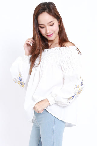 Embroidered Puff Sleeve Offsie (White)