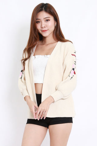 Embroidered Short Cardigan (Cream)