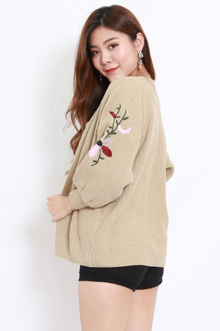 Embroidered Short Cardigan (Khaki)