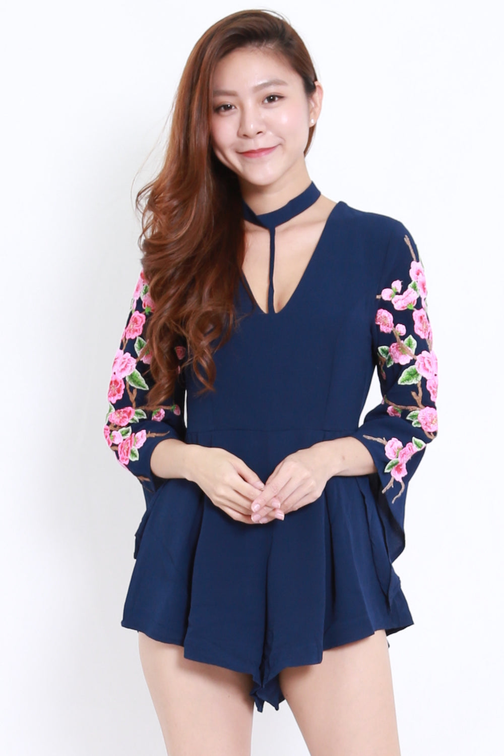 Embroidered Sleeve Choker Romper (Navy)