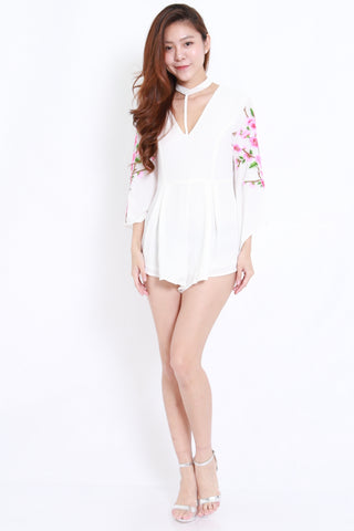 Embroidered Sleeve Choker Romper (White)
