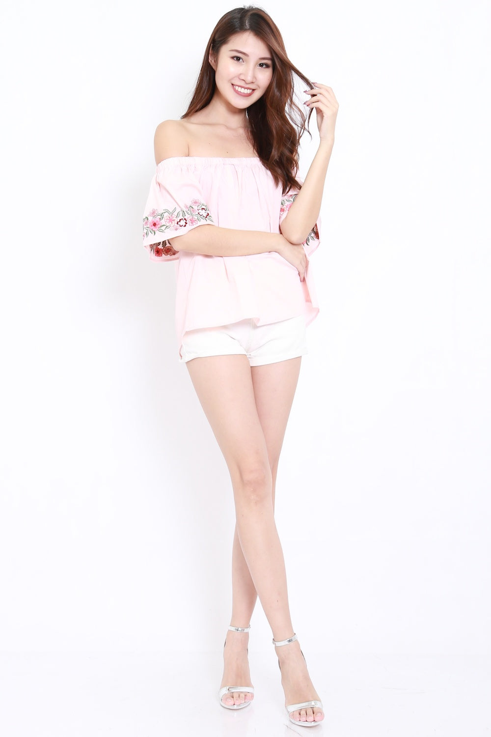 Embroidered Sleeve Offsie (Pink)