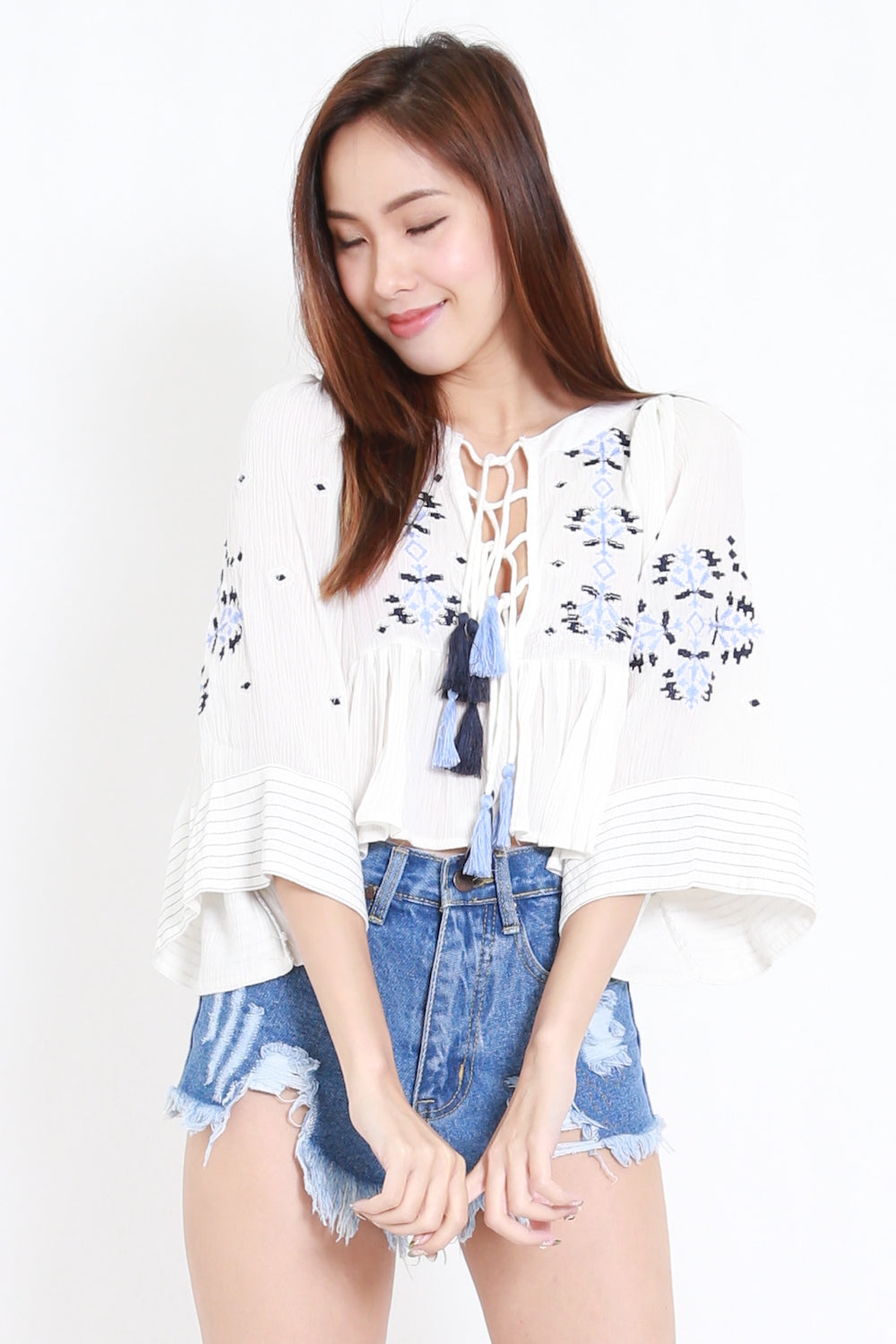 Embroidered Tassel Top (White)