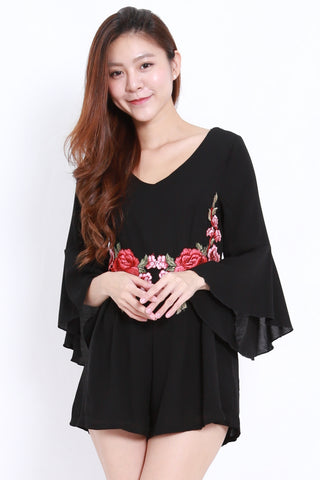Embroidered Waist Romper (Black)