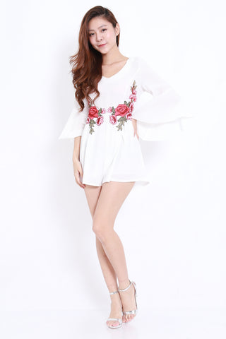 Embroidered Waist Romper (White)