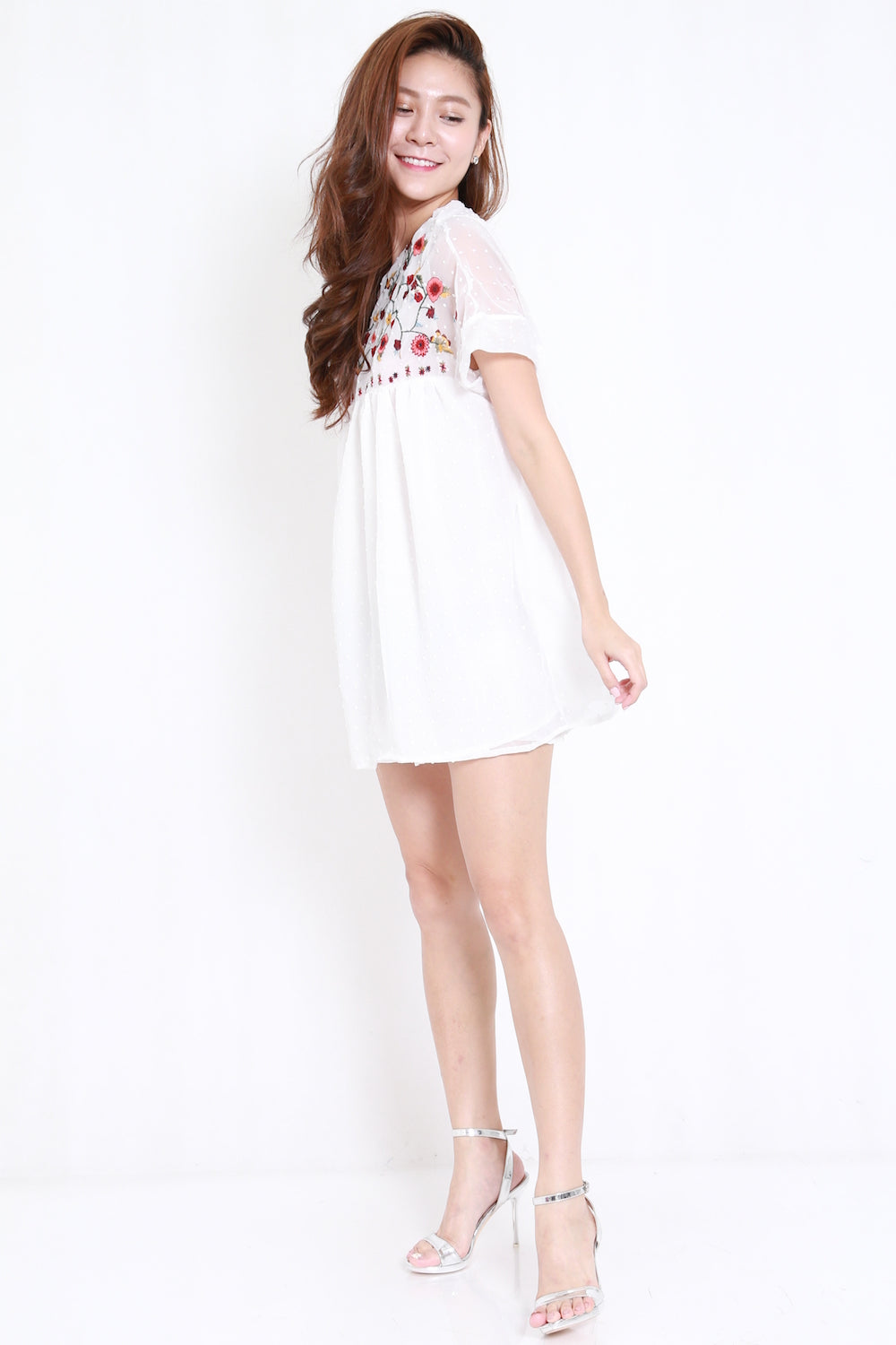 Embroidered White Babydoll Dress