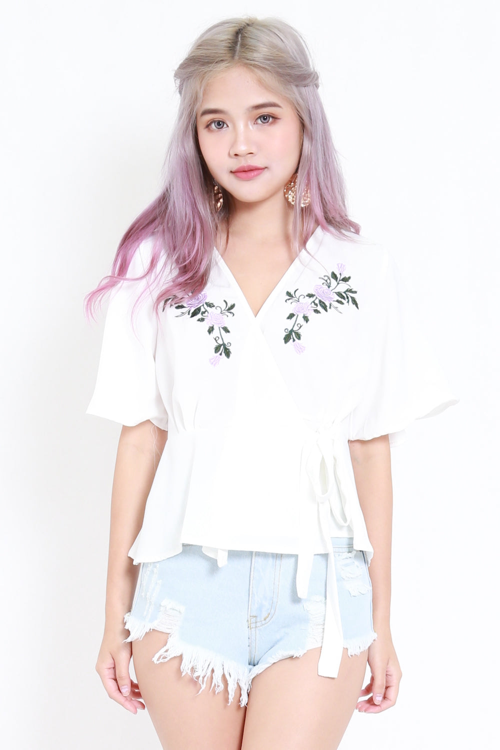 Embroidered Wrap Top (White)
