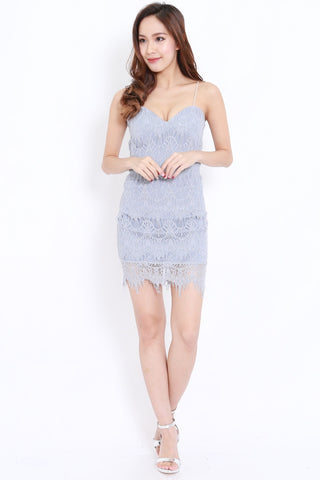 Eyelash Lace Dress (Grey)