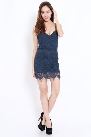 Eyelash Lace Dress (Navy)
