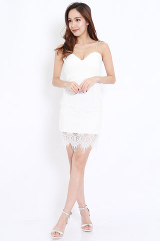 Eyelash Lace Dress (White)