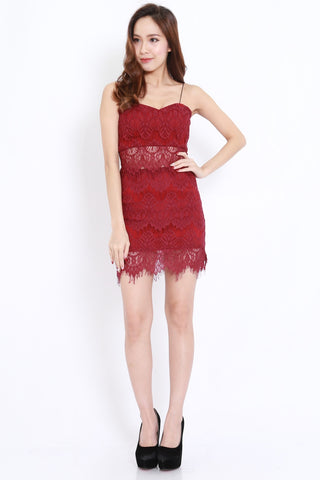 Eyelash Lace 2pcs Set (Maroon)