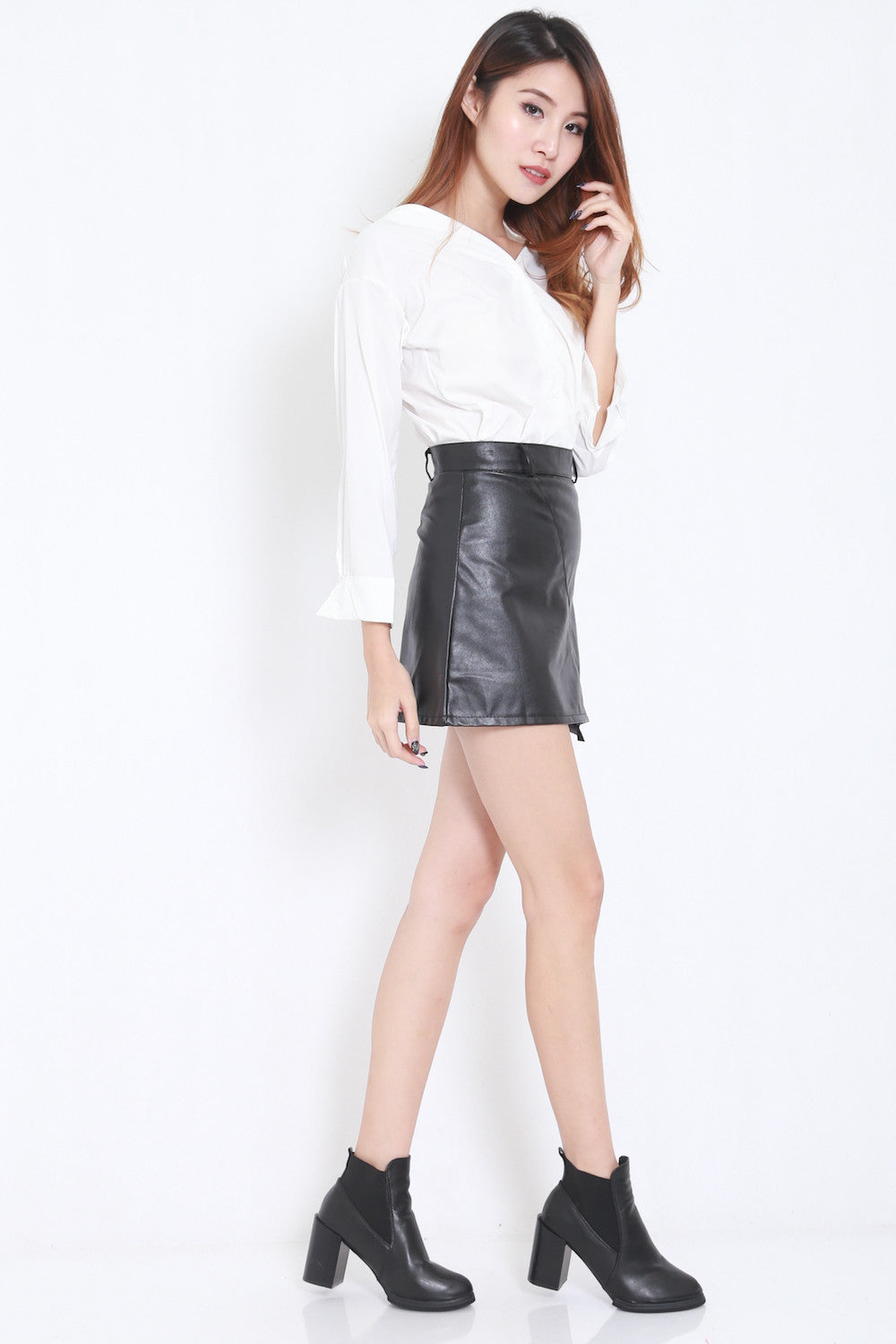 Fitted Leather Skirt -  - 4