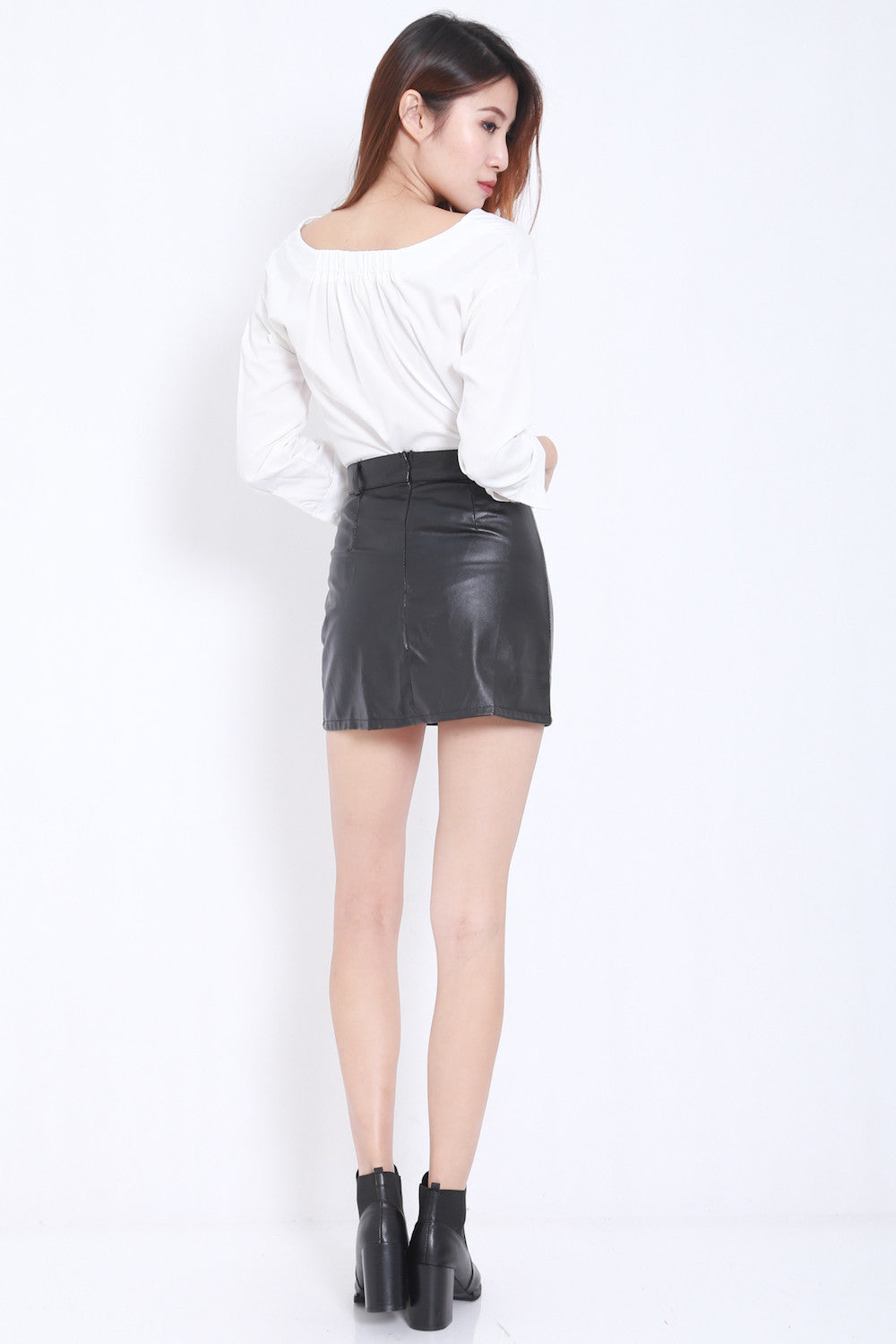 Fitted Leather Skirt -  - 5