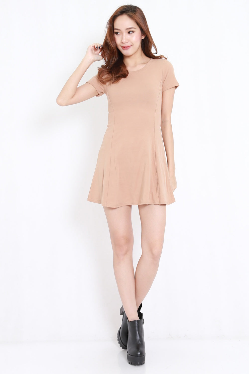 Fitted Skater Dress (Nude)