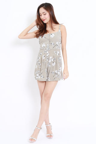 Floral Buttons Romper (Grey)