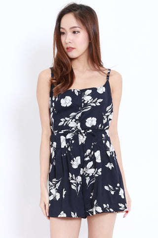 Floral Buttons Romper (Navy)