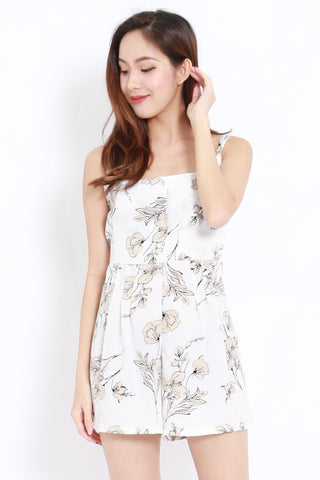 Floral Buttons Romper (White)