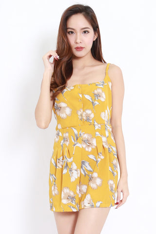 Floral Buttons Romper (Yellow)