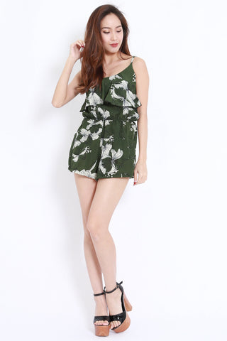 Floral Flutter Pocket Romper (Green)