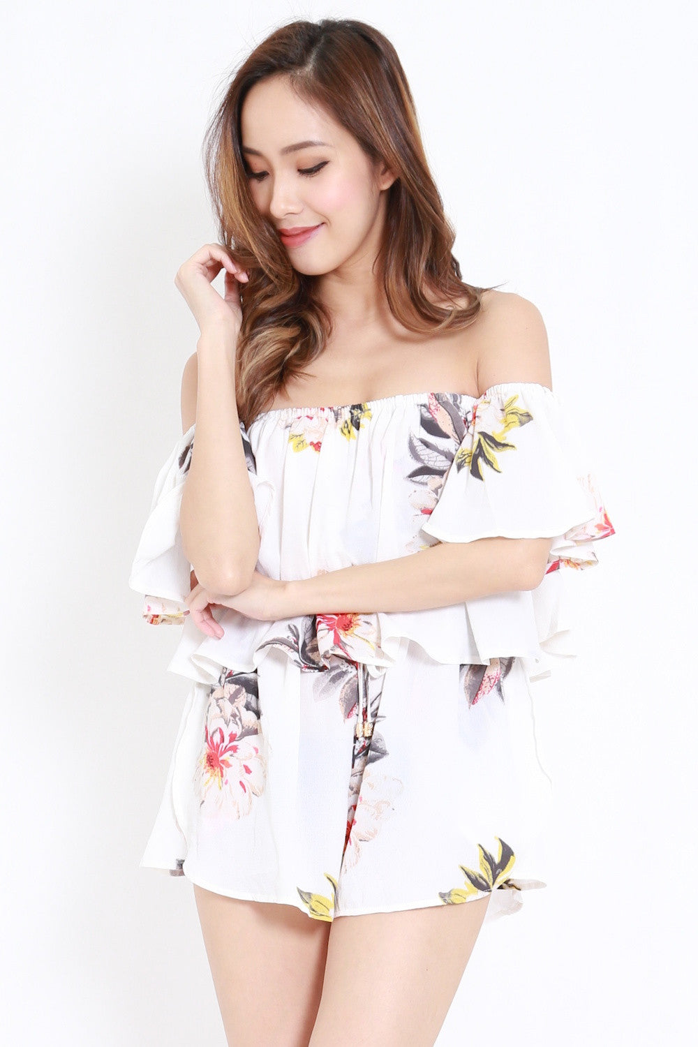 Floral Offsie Tube Romper (White)