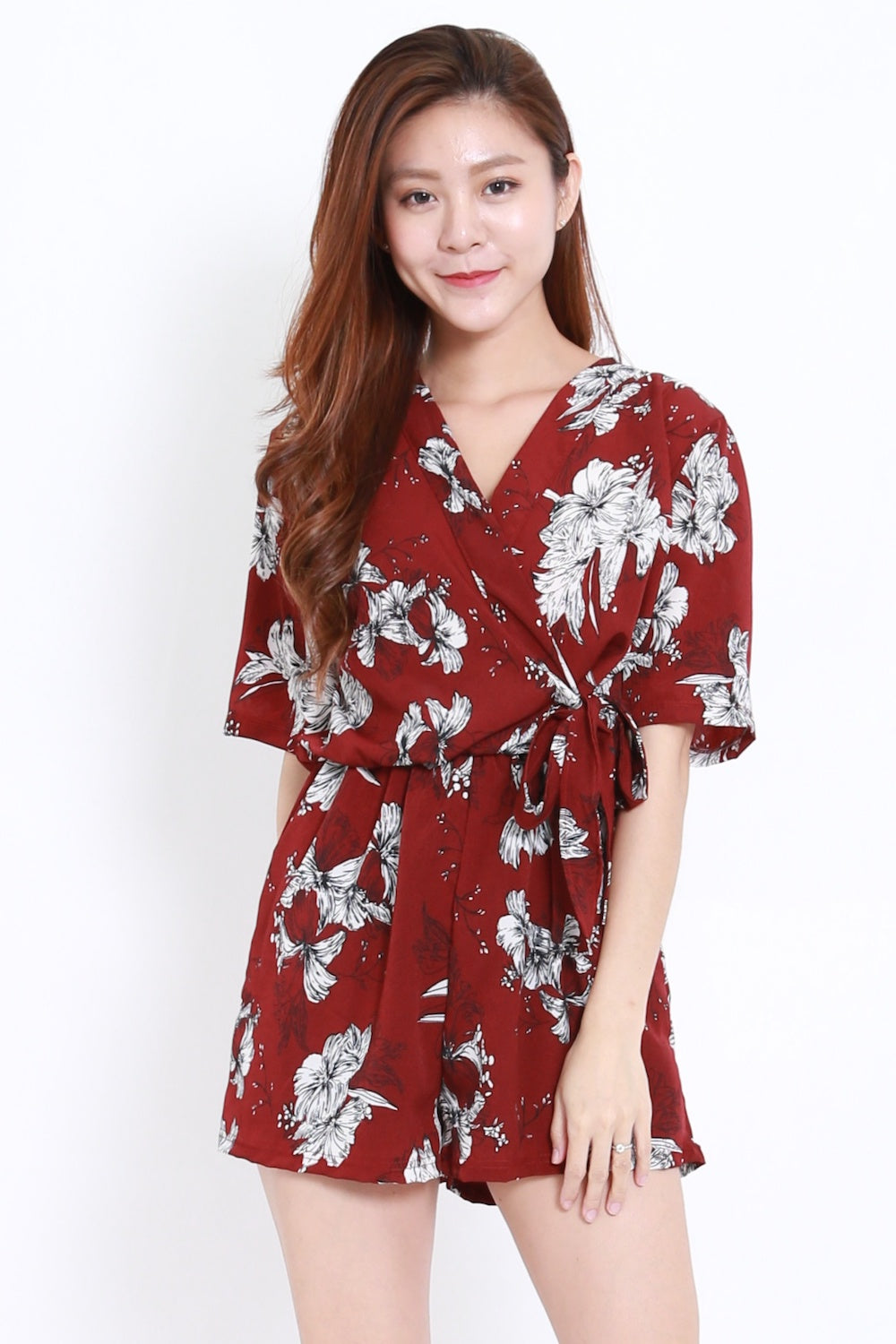 c8792dc6a9c Floral Overlap Romper (Maroon) – Carrislabelle