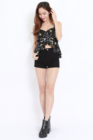 Floral Sweetheart Top (Black)