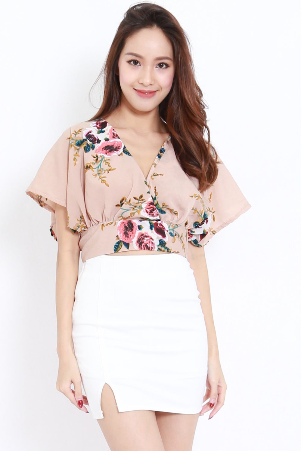 Floral V Wrap Top (Nude)
