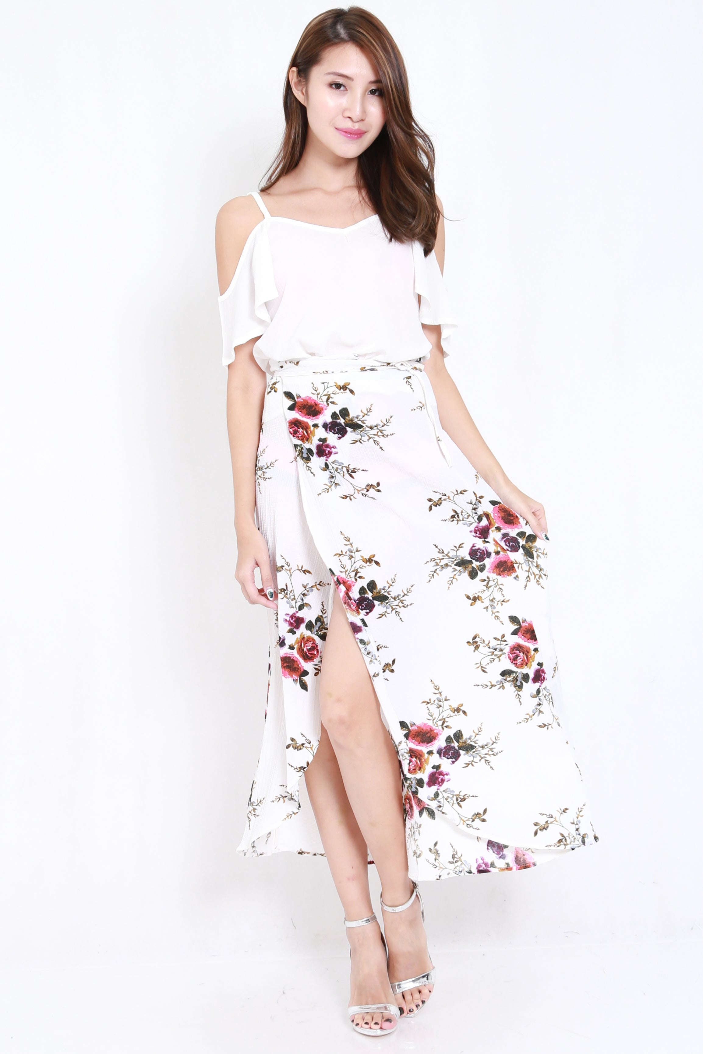 Floral Wrap Skirt (White)