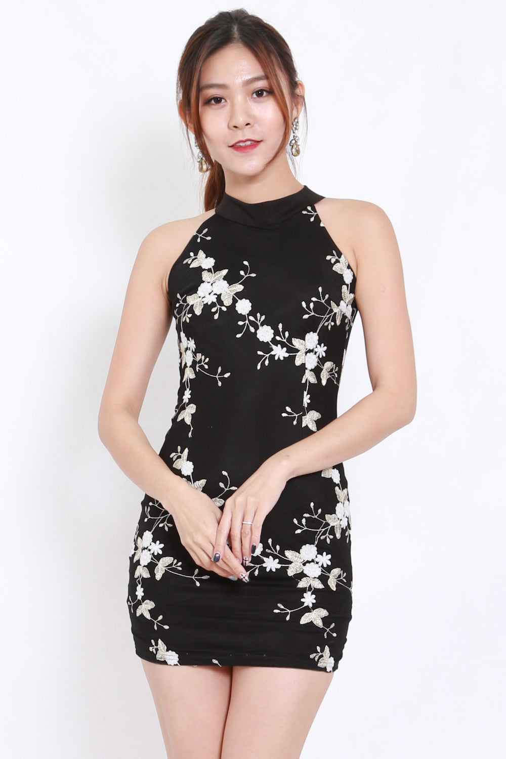 Flower Embossed Open Back Dress