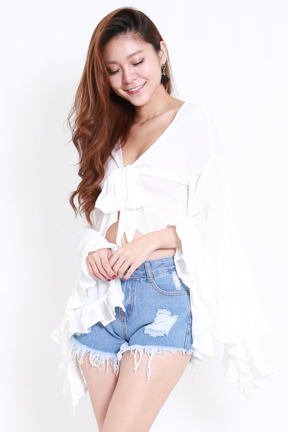 Flutter Bell Sleeve Top (White)