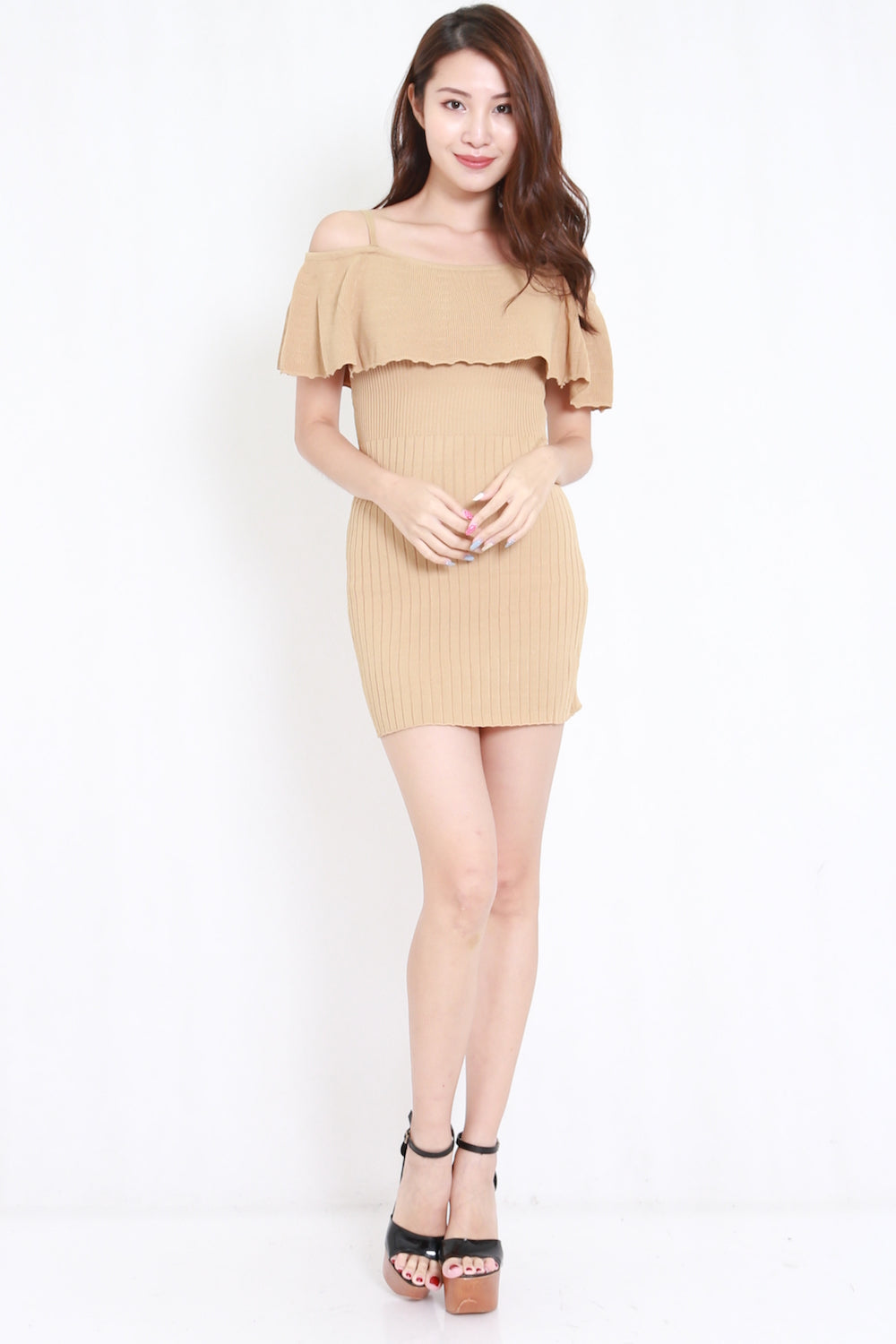 Flutter Off Shoulder Knit Dress (Nude)