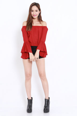 Flutter Off Shoulder (Maroon)