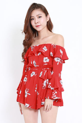 Flutter Off Shoulder Romper (Red Floral)