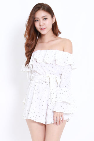Flutter Off Shoulder Romper (White Polka)