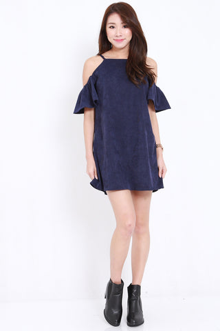 Flutter Offsie Spag Dress (Navy)