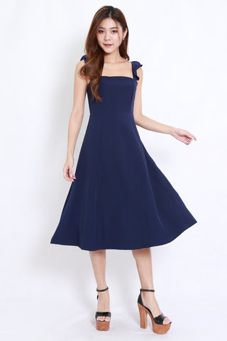 Flutter Sleeve A Line Dress (Navy)