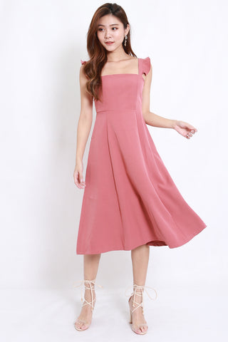 Flutter Sleeve A Line Dress (Rose)