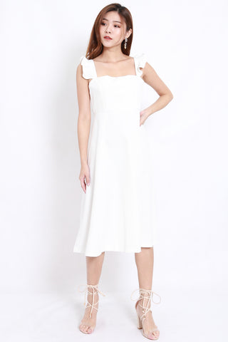 Flutter Sleeve A Line Dress (White)