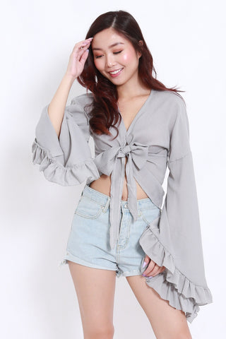 Flutter Sleeve Ribbon Top (Grey)