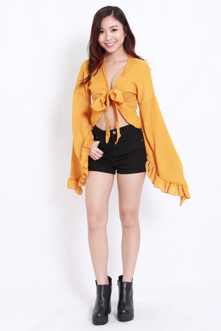 Flutter Sleeve Ribbon Top (Mustard)