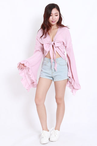 Flutter Sleeve Ribbon Top (Pink)