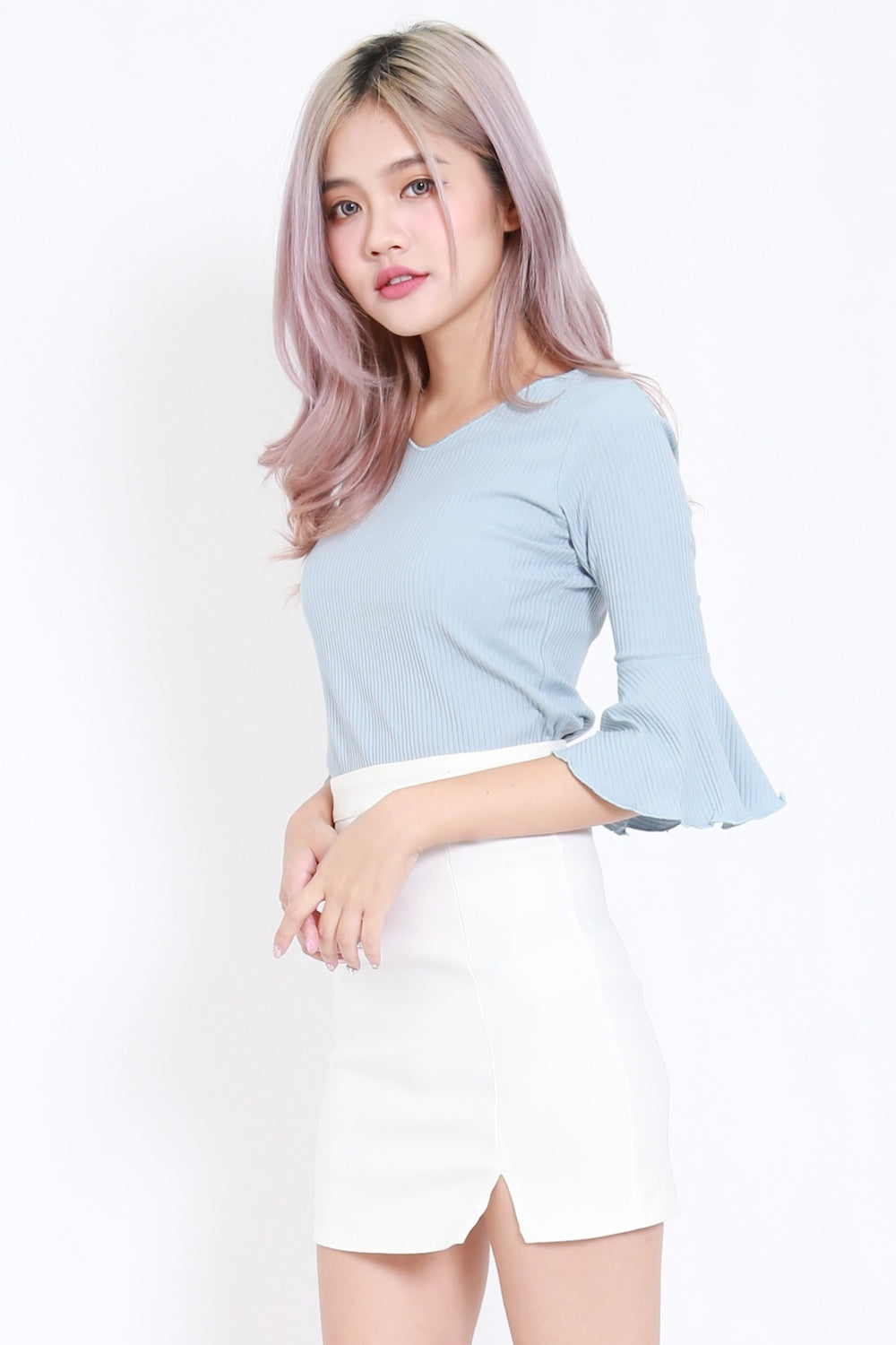 Flutter Sleeve Ribbed Top (Blue)